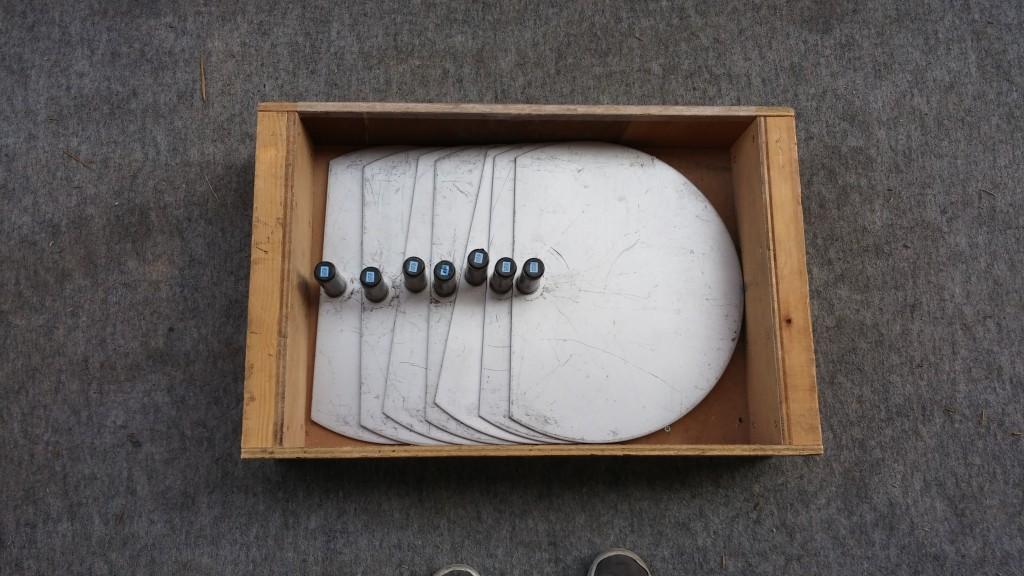 木箱の中に半円ベース